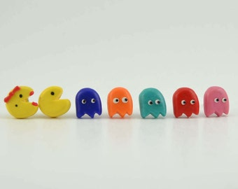 Pac Man Adorable Set of 7 earrings.Video Game. Polymer clay earrings-VVsGrotto