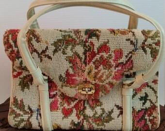 Carpet Bag Handbag, Ivory and Floral Carpet Tapestry Purse, Vintage Floral Tapestry Carpet Double Strap Handbag