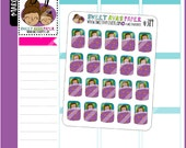 Sleeping Planner Stickers   Ava   Doodle Planner Stickers   Sleepover Stickers   Bed Stickers   Brunette Hair Girl Stickers   389