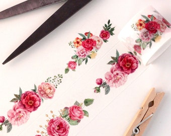 Watercolor Garden Floral Wide Washi Tape - 1 Roll: Peony Rose Bouquet Hand Drawn - Pink Red Green - 30mm X 5m Extra Wide Washi Tape