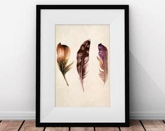 Printable Art, Boho Feathers, Watercolor Nursery Art, Watercolor Art Print, Watercolor Feather Print, Printable Watercolor, Bohemian Decor