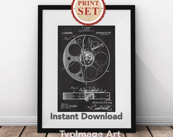 Movie Art Print, Print Set of 4, Cinema Art, Film Patents, Chalkboard, Motion Picture, Movie Gift, Film Reel Patent, Film Buff Gift