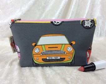 BMW Mini Zip Case Bag Pouch fabric Handmade in England