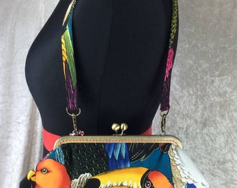 The Grace Birds Of A Feather bag purse handbag clutch fabric Alexander Henry handmade in England