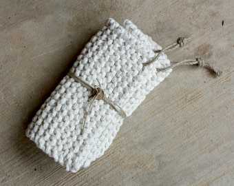 pair of knitted off white potholders, handmade potholders, 100% recycled cotton pot holders, housewarming gift