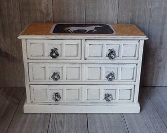 Unicorn Jewelry Box, White Jewelry Box, UpCycled/Refurbished Jewelry Box, Decoupaged Jewelry Box, Chalk Painted Jewelry Box