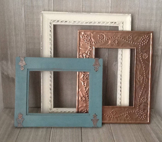 set of 3 picture frames rose gold 5 x 7 picture frame turquoise 5x7 frame white 8x10 frame farm wedding frames from