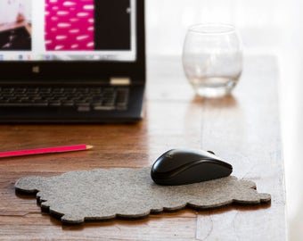 Pebbles mouse pad, wool felt pad, computer mouse pad, felt, modern mouse pad, felt mouse pad, free shipping, office accessories, hot pads