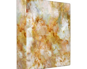 3 Ring Binder, Gold Rippled Marble Book, 4 Sizes Available!