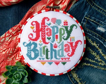 Happy Birthday Cross Stitch Pattern, Cross Stitch Quote, Birthday Gifts For Mom, Birthday Gift Ideas, Cross Stitch Charts, Embroidery Hoop
