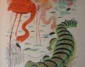Flamingo and Friends - Florida Scenery  framable print -  for beach decor, animal print, swamp creatures, 1930s retro