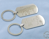 My Kids Drawing Engrave on Stainless Steel Army Dog Tag Custom HandwritingNecklace/Keyring