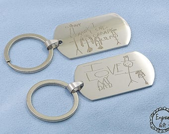 My Kids Drawing Engrave on Stainless Steel Army Dog Tag Custom Handwriting  Necklace/Keyring
