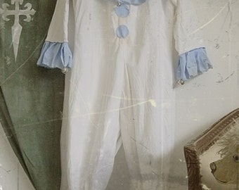 Cute vintage pierrot suit, harlequin costume, hand made ....CHARMANT!