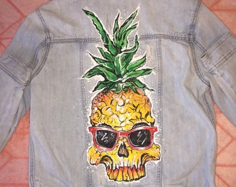 Pineapple Skull Hand Painted Jacket