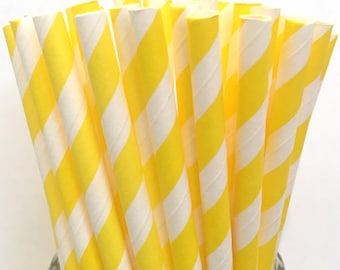 2.85 US Shipping -Yellow Stripe Paper Straws  -  Yellow Stripe Straws- Cake Pop Sticks