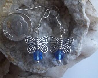 Indigo Dangle Butterfly Earrings