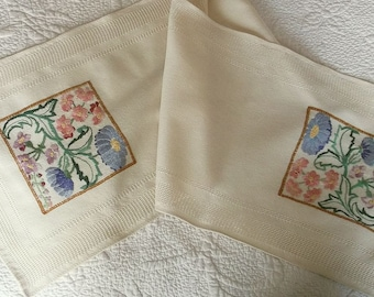 Vintage Arts & Crafts Style Hand Embroidered Table Runner