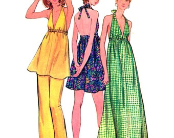 70's Butterick 6655 Halter-neck Tunic Top or Dress with Deep V-Neckline and Straight Leg Pants, Partially Cut Sewing Pattern Size 14 Bust 36