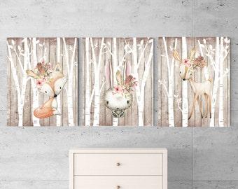 Set of 3 Woodland animals, Baby animal prints, Partytwo, woodland nursery, Forest theme, Wildflower nursery, Woodland decor, Girl nursery