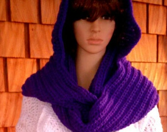 Oversized Crochet Scarf with Hood - Scoodie - Infinity Scarf