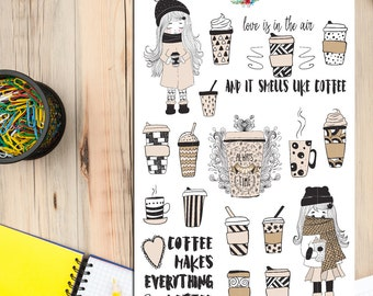 Coffee Lover Girl Planner Stickers | Coffee Addict | Coffee Stickers | Coffee Quotes | Winter Stickers (S-220)