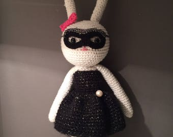 Bunny in a dress and mask