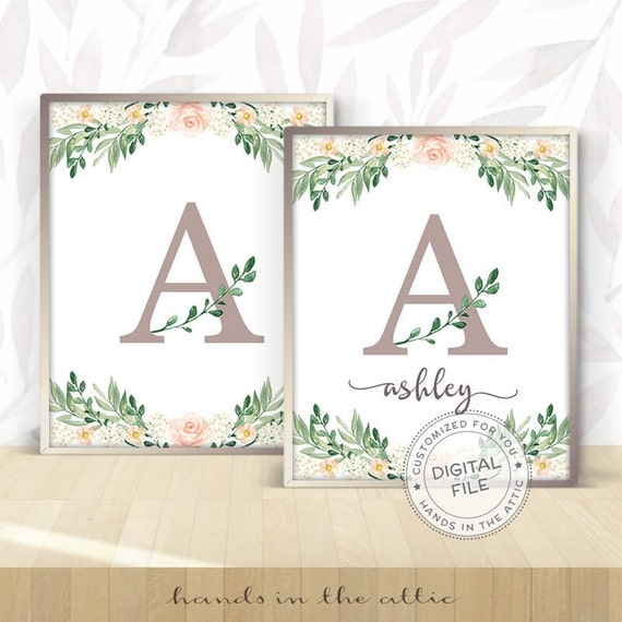 Printable Monogram Wall Art Letters For Girl Nursery Decor Floral Unique Di