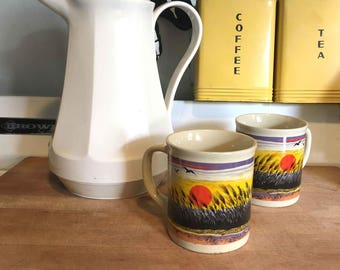 Vintage Mug Set Sunset Mugs Vintage Coffee Mugs Made in Japan Vintage His and Her Mugs 1970s Vintage 70s Kitchen 70s Vintage Mug 1970s Mug