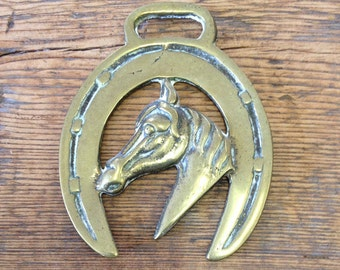 Vintage Horse Brass With Horseshoe  - Metal-Metalworking, Collectable.