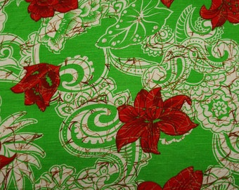 """Designer Fabric, Floral Print, Rayon Fabric, Dress Material, Green Fabric, Sewing Decor, 60"""" Inch Quilting Fabric By The Yard ZBR237B"""