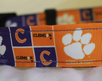 "Clemson University Dog Collar - Side Release Buckle (1"" Width) - Martindale Available"