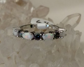 Opal and Mystic Topaz Party Ring, Size 6.5