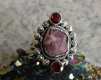 Rough Pink Tourmaline and Pink Raspberry Rhodolite Garnet  Ring Size 7 1/2