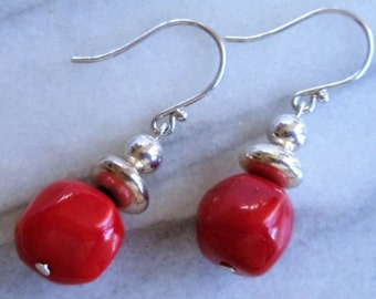 Vintage Red Coral 925 Sterling Earrings, Red Coral Beads Sterling Earrings, Dangle Pierced Earrings, Red Coral Jewelry, Gift For Her, 1980s'