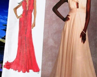 Vogue Pattern, V1030, Misses floor length gown, slight train, ruffle neckline gown, low V-neck gown, sleeveless gown, sz: 14, 16, 18, 20, 22