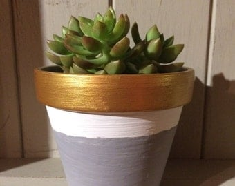 Hand painted grey/gold/white terracotta plant pot