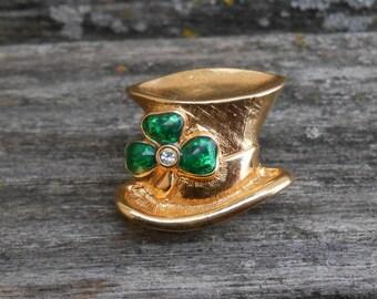 Vintage Shamrock Hat Pin. Leprachaun Hat. Clover, St. Patricks, Lucky.