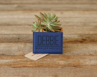 Personalized Business Card Holder, Custom Business Card Holder, Engraved Business Card Holder, Leather Business Card Holder --BCH-BL-DEBBIE