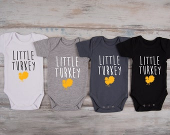 THANKSGIVING Baby Boy Outfit, LITTLE TURKEY One Piece, First Turkey Day, First Thanksgiving Baby Boy Outfit, Photo Prop, Photo Shoot