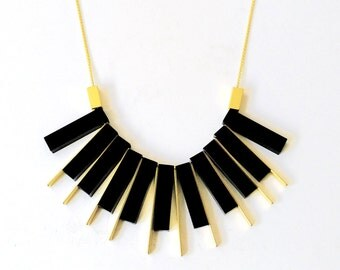 Gold Necklace, Long Gold Necklace, Black Acrylic Necklace, Laser Cut Acrylic necklace, Perspex, Black Necklace, Black Perspex Necklace,