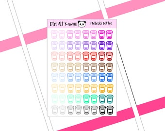 Multicolor Coffee Cup Icon Planner Stickers