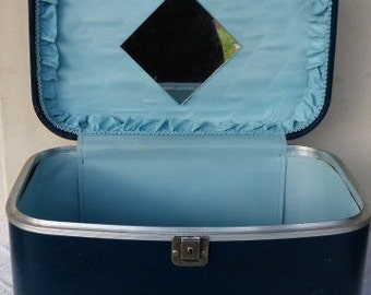 Vintage blue airway luggage suitcase for cosmetic's and toiletries train case