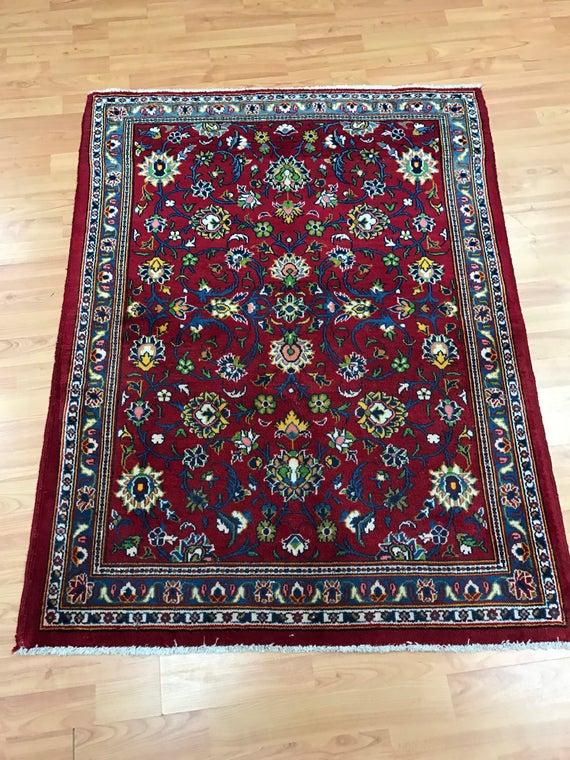 "3'3"" x 4'4"" Persian Kashan Oriental Rug - 1950 - Hand Made - 100% Wool"
