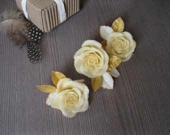 Ivory wedding hair flower Ivory wedding hair piece Bridal hair piece Ivory hair flower Ivory gold hair flower Rose gold wedding headpiece
