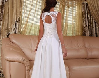 Bohemian Wedding Dress ,Sleeveless with Illusion Lace Neckline and Cutout Back ,Indie Wedding Dress, Chiffon Skirt