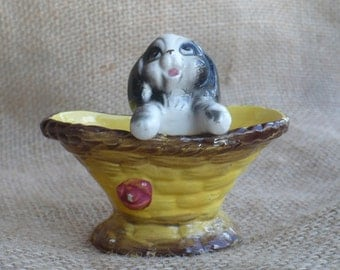 Vintage Toothpick Holder, Puppy In a Basket Trinket Dish, Animal Figurine