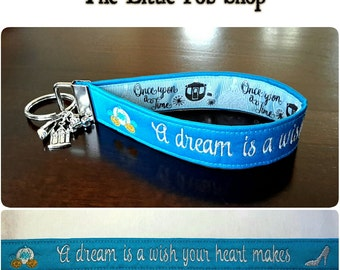 Embroidered Cinderella Princess Inspired Key Fob/Wristlet with Charms -