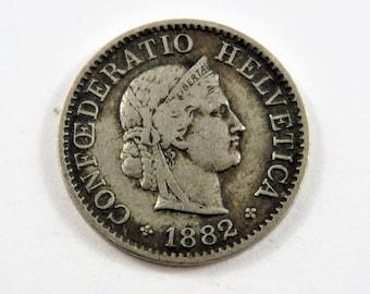 Switzerland 1882 B 5 Rappen Coin.