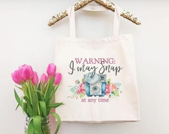 Funny Photographer Gift - Photographer Tote Bag - Camera Tote Bag Everyday Bag - Funny Grocery Bag - Canvas Tote Handbag - Shopper Bag